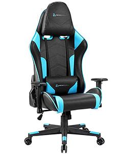 silla gaming newskill azul y negra
