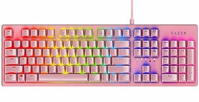 teclado para chica gamer rosa teclas mecanicas femeninas